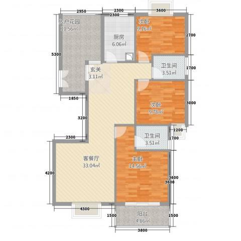 浅水湾・中央公园3室1厅2卫1厨128.00㎡户型图