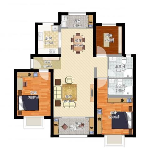 方城宇信凯旋城-中央公馆3室1厅2卫1厨149.00㎡户型图