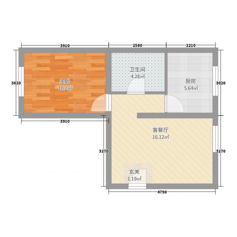 鑫界・阳光里5.36㎡F户型1室1厅1卫1厨