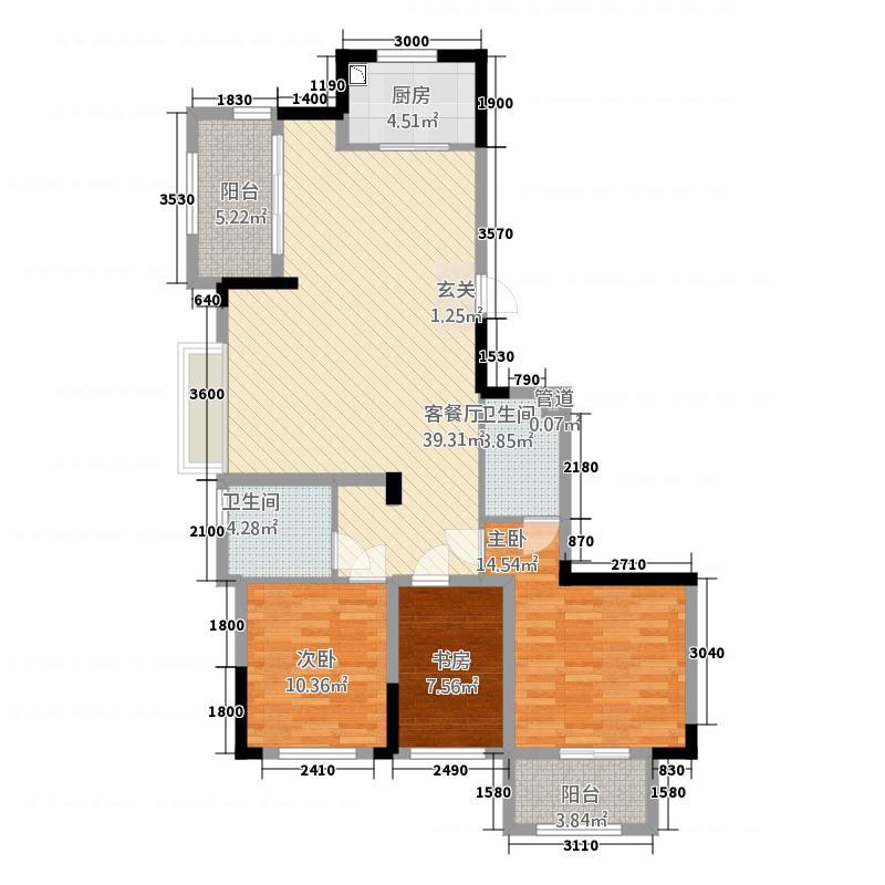 和润华府1122.44㎡华和苑1#、7#楼西灿H户型3室2厅2卫1厨