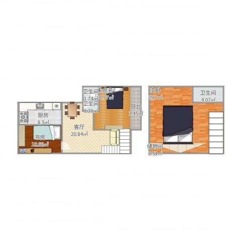 仙林新村2室1厅3卫1厨138.00㎡户型图
