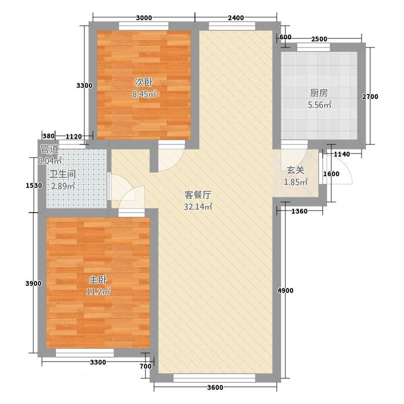 中城国际城15.77㎡A1户型2室2厅1卫1厨