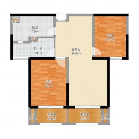 华润置地橡树湾2室1厅2卫1厨116.00㎡户型图