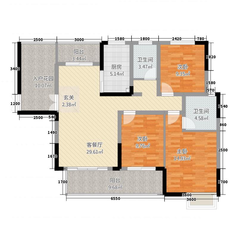 轩达绿地中央126.62㎡户型3室2厅2卫1厨