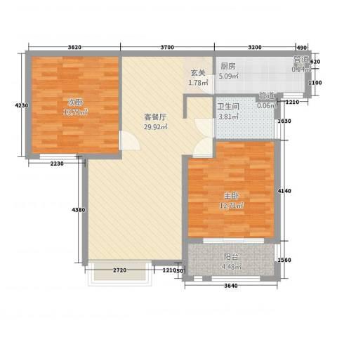 中星湖滨城凡尔赛九郡2室1厅1卫1厨99.00㎡户型图