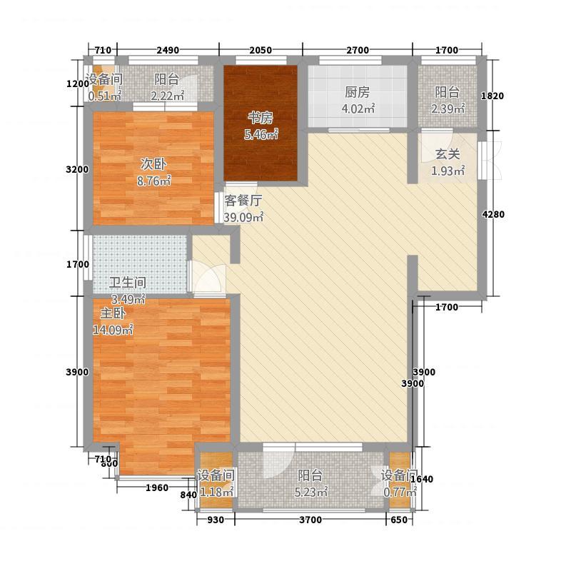 汇金国际五号楼A户型2室2厅2卫1厨