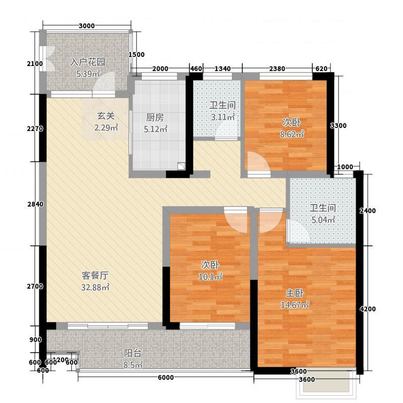 轩达绿地中央126.32㎡户型3室2厅2卫1厨