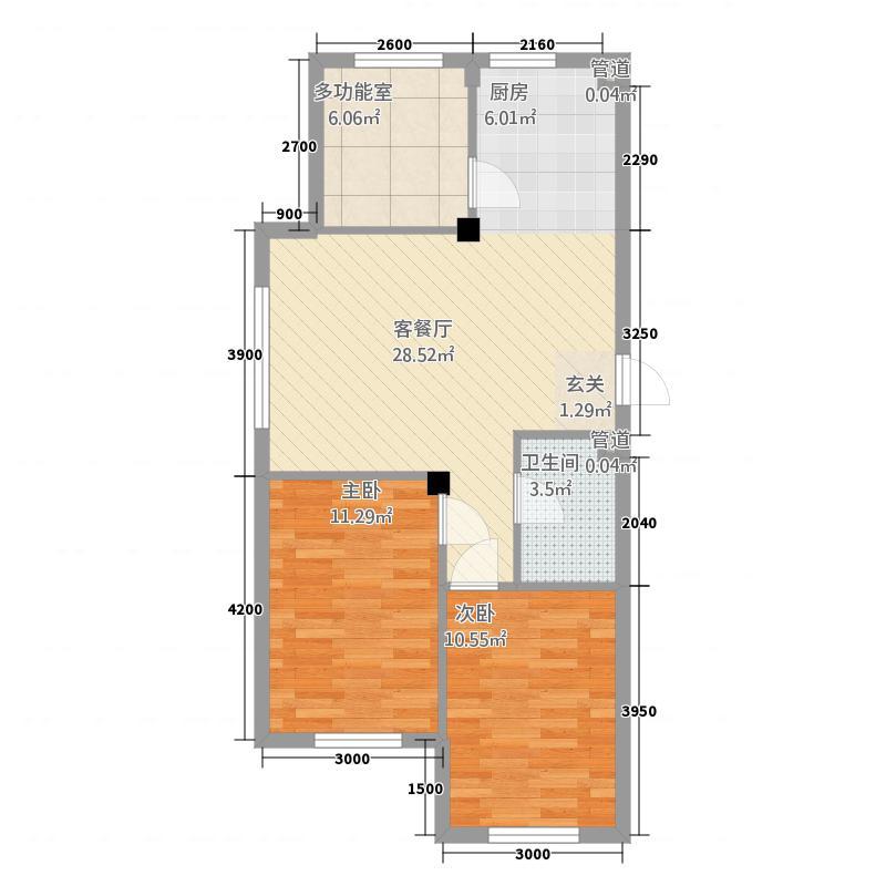 弘坤玉龙城84.72㎡A户型3室2厅1卫1厨