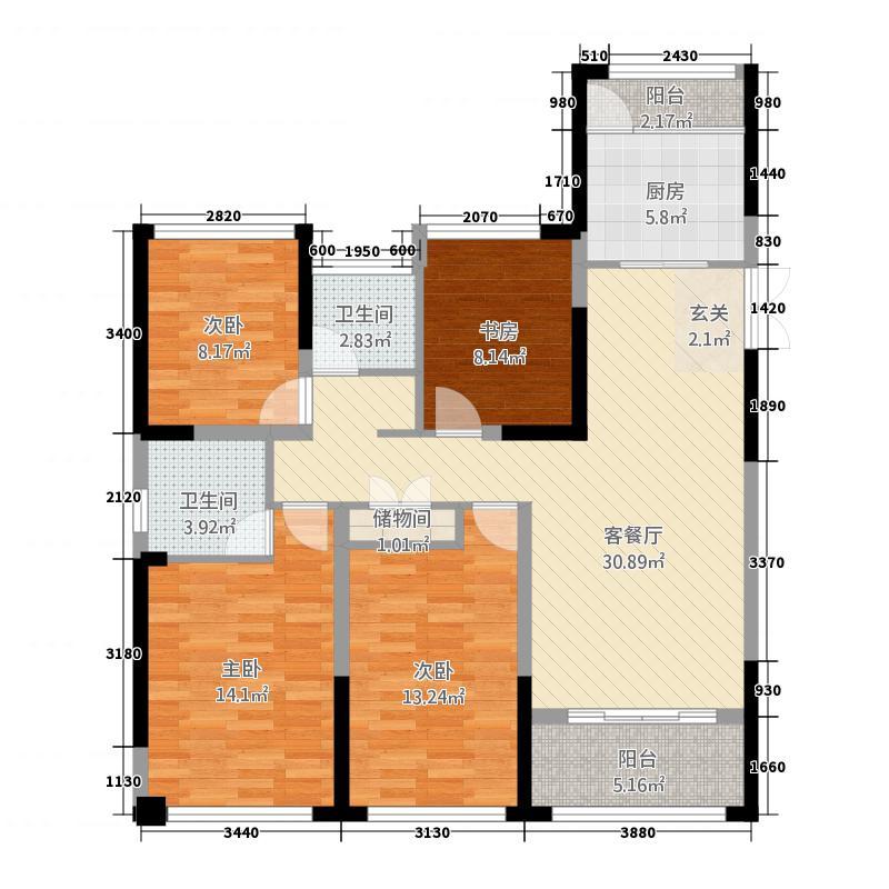中南世纪城137.00㎡B1-137折页-01-02户型4室2厅2卫