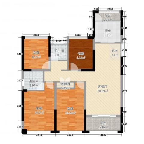 中南世纪城4室1厅2卫1厨137.00㎡户型图