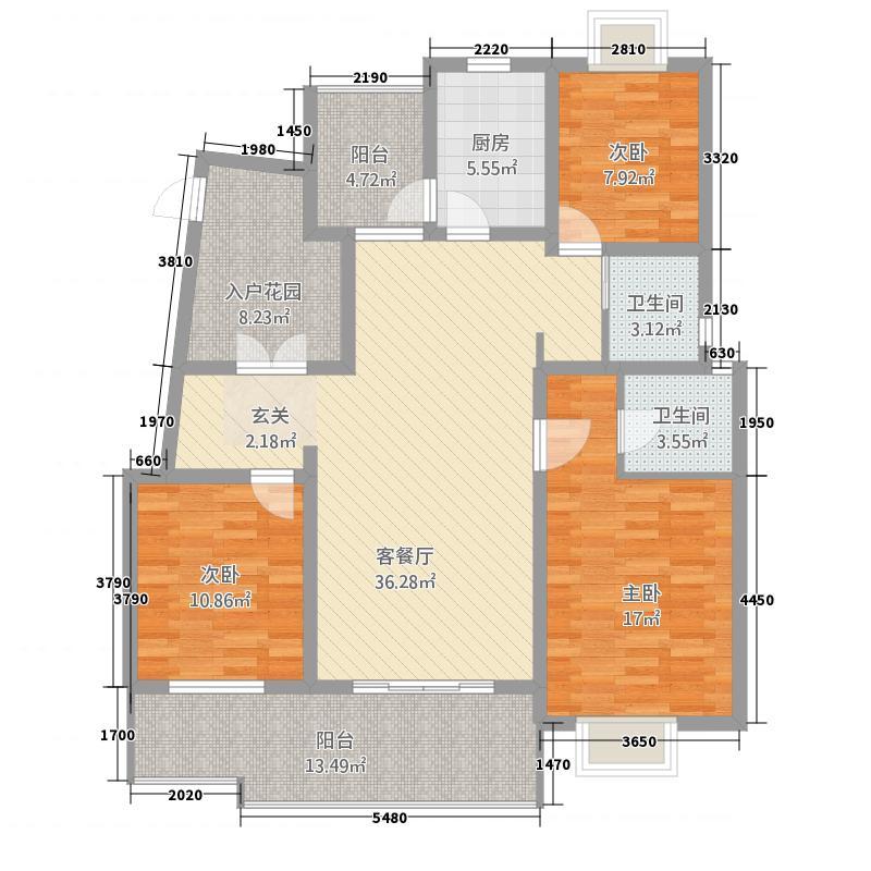 领域・阳光花园户型3室2厅2卫1厨