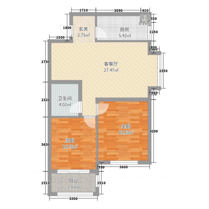 玫瑰湾二期・珑岸6.72㎡墅景高层B03/户型2室2厅2卫1厨