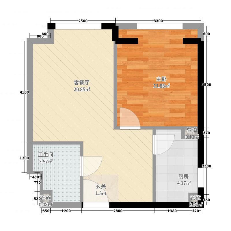 益田枫露64.58㎡公寓C户型1室1厅1卫