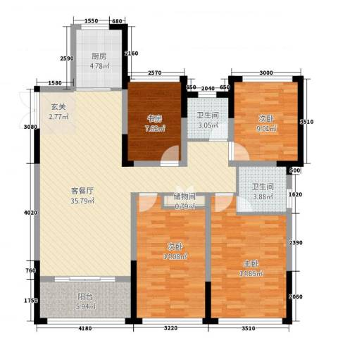 中南世纪城4室1厅2卫1厨143.00㎡户型图