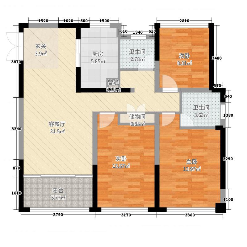中南世纪城124.00㎡B3-124折页-02户型3室2厅2卫