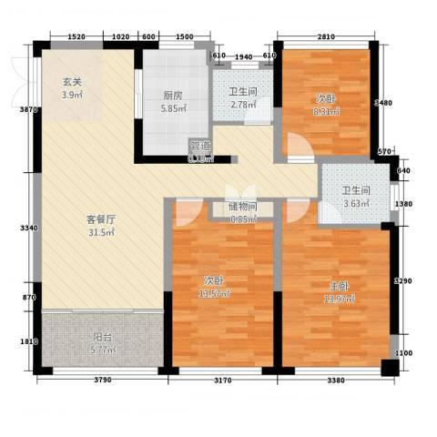 中南世纪城3室1厅2卫1厨124.00㎡户型图