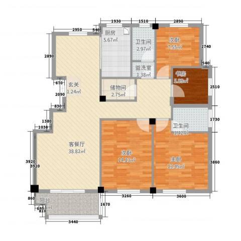 尚湖中央花园4室2厅2卫1厨141.00㎡户型图