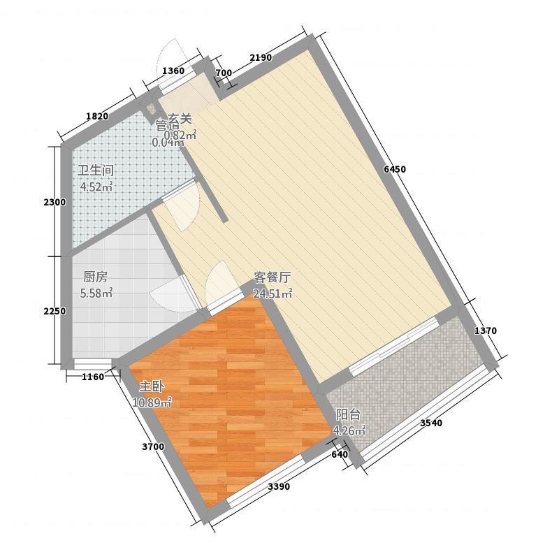 湖光豪景2163.66㎡E2户型1室2厅1卫1厨