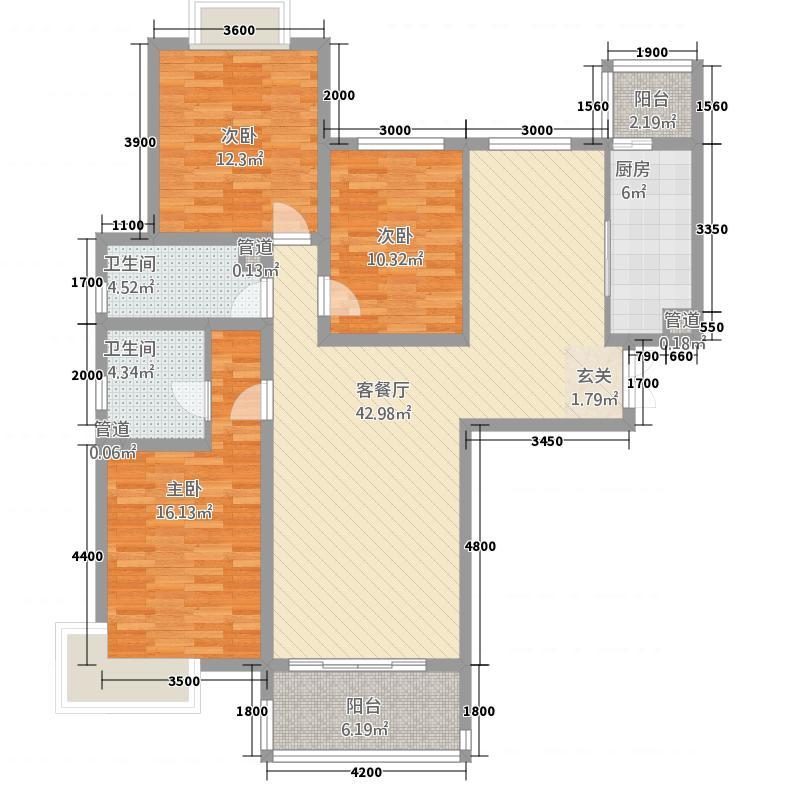 盛唐至尊4148.20㎡一期4号楼A户型3室2厅2卫1厨