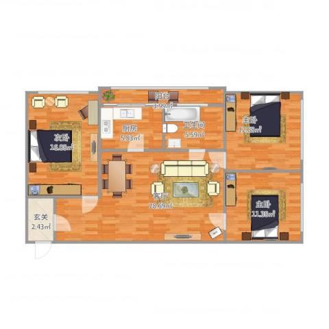 西中华小区3室1厅1卫1厨117.00㎡户型图