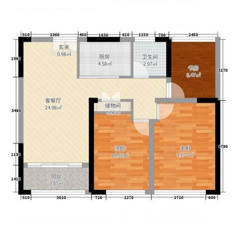 中南世纪城3室1厅1卫1厨68.13㎡户型图
