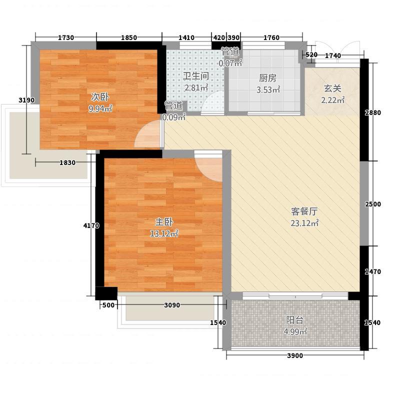 衡阳大厦2285.26㎡F户型2室2厅1卫1厨