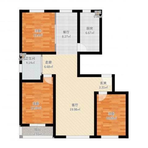 南环公寓3室1厅1卫1厨121.00㎡户型图