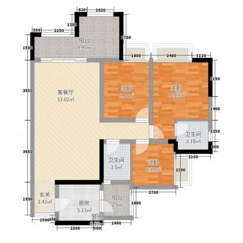 昌龙阳光尚城3室1厅2卫1厨85.50㎡户型图