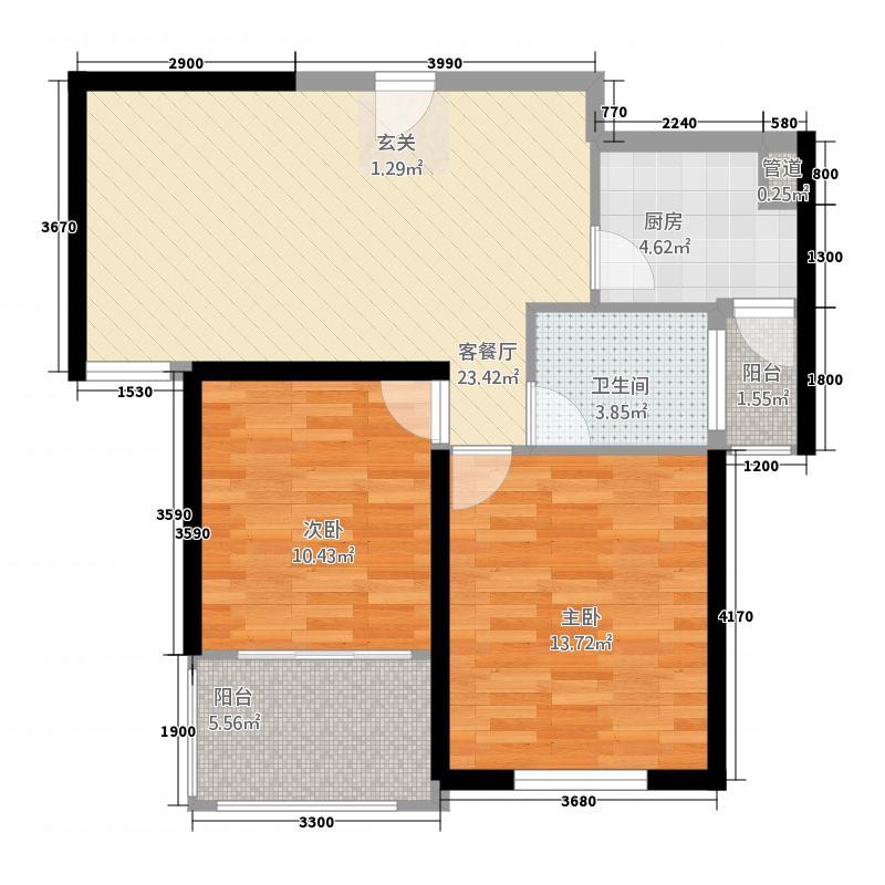 星光国际广场82.20㎡B户型2室2厅1卫1厨