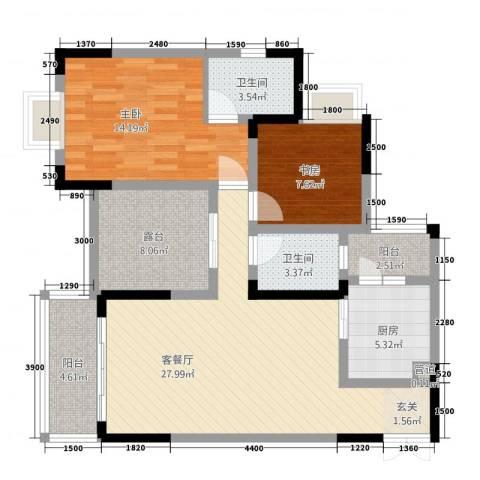 昌龙阳光尚城2室1厅2卫1厨77.32㎡户型图
