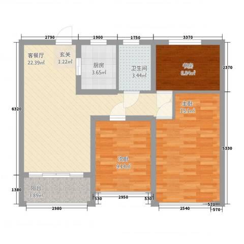 浙建・太和丽都三期3室1厅1卫1厨74.00㎡户型图