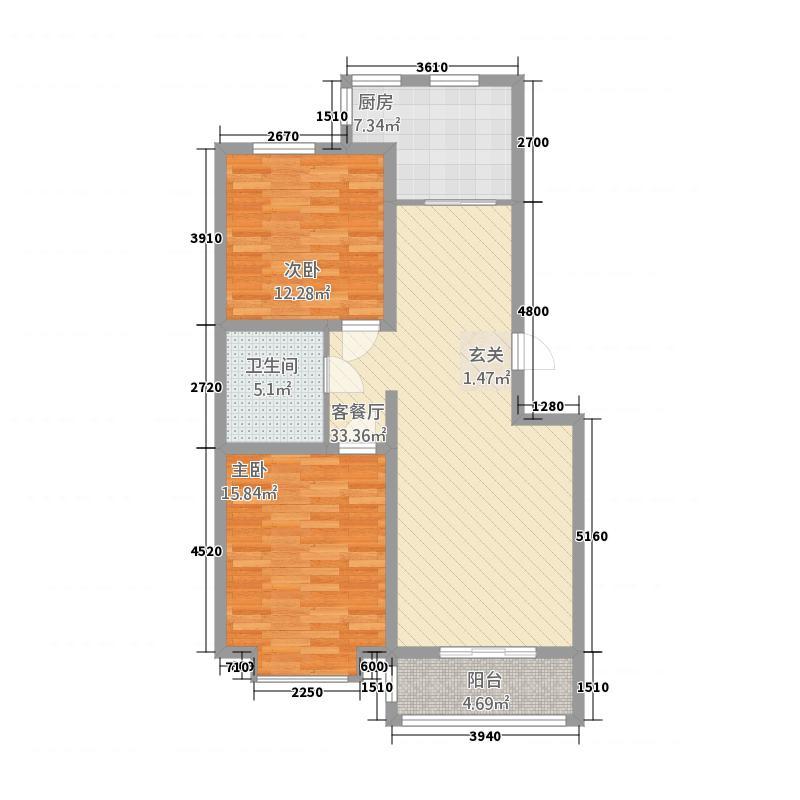 巨海城N户型2室2厅1卫1厨