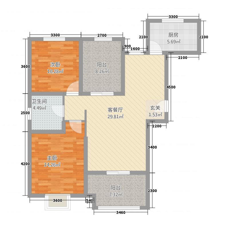 晟地润园1211.20㎡G1户型2室2厅1卫1厨