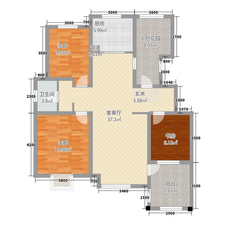 晟地润园23117.20㎡B2户型3室2厅1卫1厨