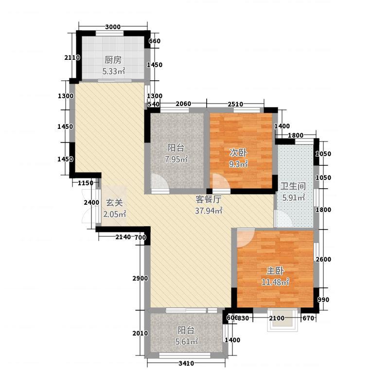 中国诺贝尔城18.20㎡透景花厅洋房A户型2室2厅1卫1厨