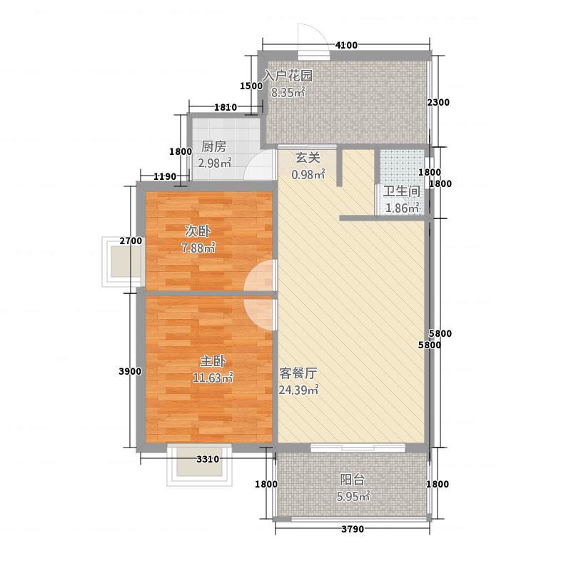 新城海世界876.20㎡8、9#D户型2室2厅1卫1厨