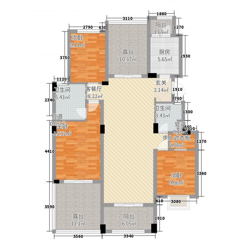 紫晶首府113125.52㎡Y1-1户型3室2厅2卫1厨