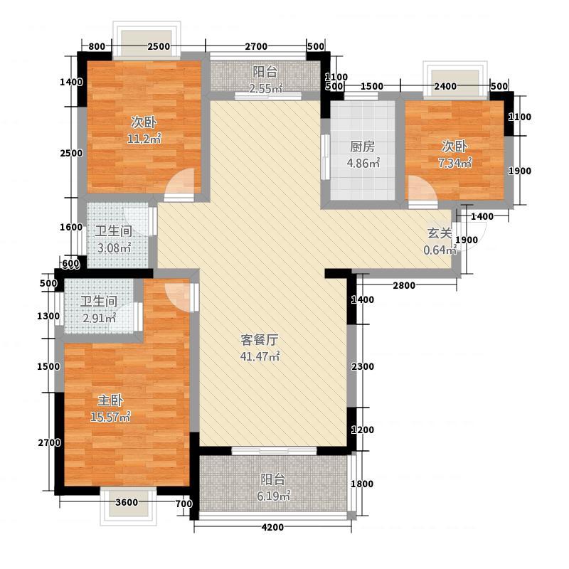 程力・水岸国际127.48㎡(4)户型3室2厅2卫