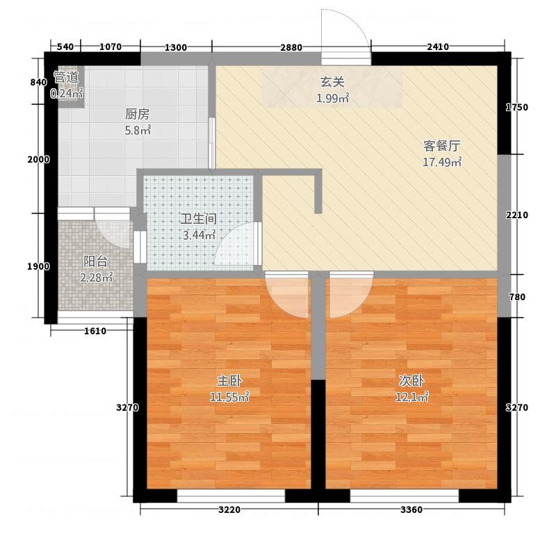 科技城・汇智广场75.20㎡D户型2室2厅1卫1厨