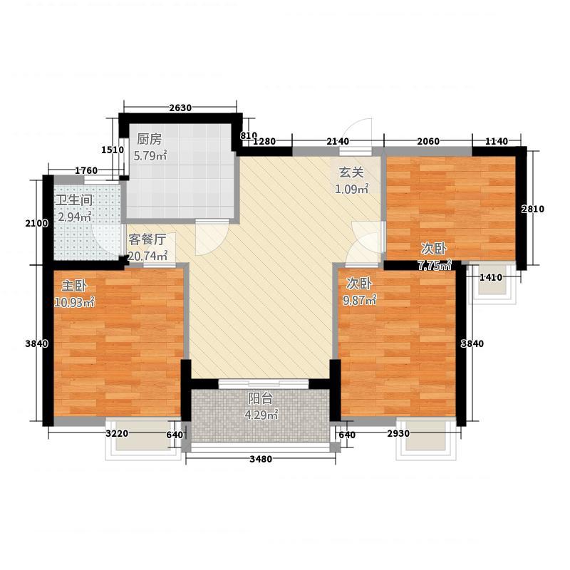 汇高・百悦府128.20㎡C1-2户型3室2厅1卫1厨
