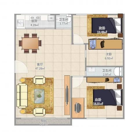 翠湖新村8座5023室1厅2卫1厨129.00㎡户型图