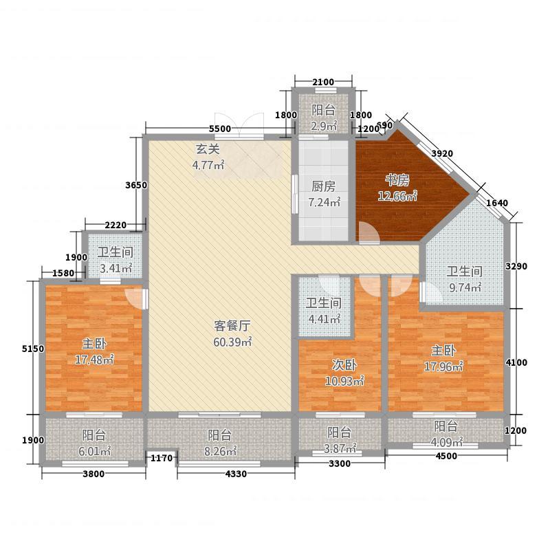 坤杰・拉菲公馆41248.23㎡4#1单元014室户型4室2厅3卫1厨