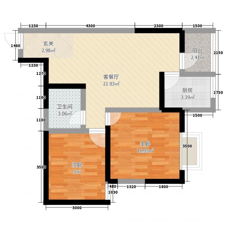 铜川傅氏阳光74.22㎡户型2室2厅1卫1厨
