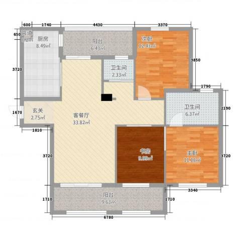 东方新天地3室1厅2卫1厨143.00㎡户型图