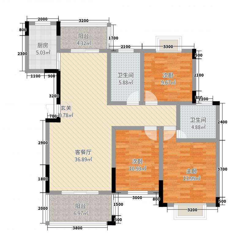 程力・水岸国际127.81㎡(1)户型3室2厅2卫