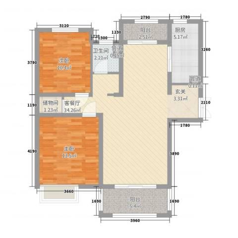 中星湖滨城凡尔赛九郡2室1厅1卫1厨109.00㎡户型图