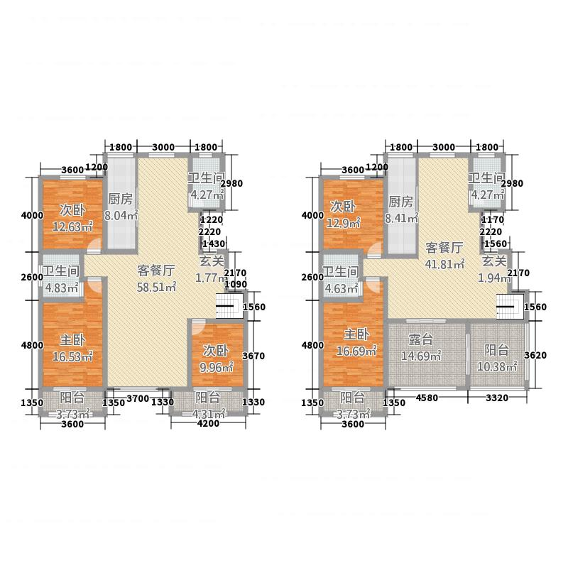三发尚河名郡15262.20㎡一期15-21#楼标准层G4户型5室3厅4卫2厨