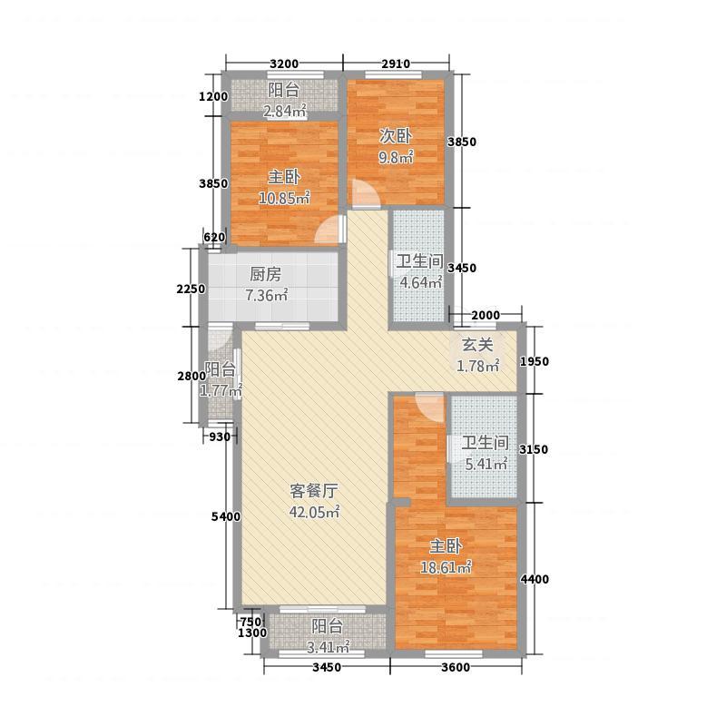 坤杰・拉菲公馆52153.81㎡5#2单元023室户型3室2厅2卫1厨