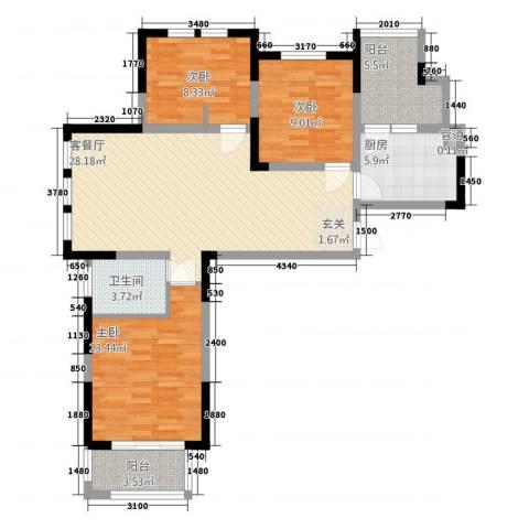 华源上海城三期3室1厅1卫1厨113.00㎡户型图