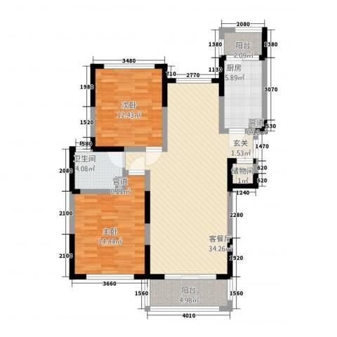 华源上海城三期2室1厅1卫1厨115.00㎡户型图